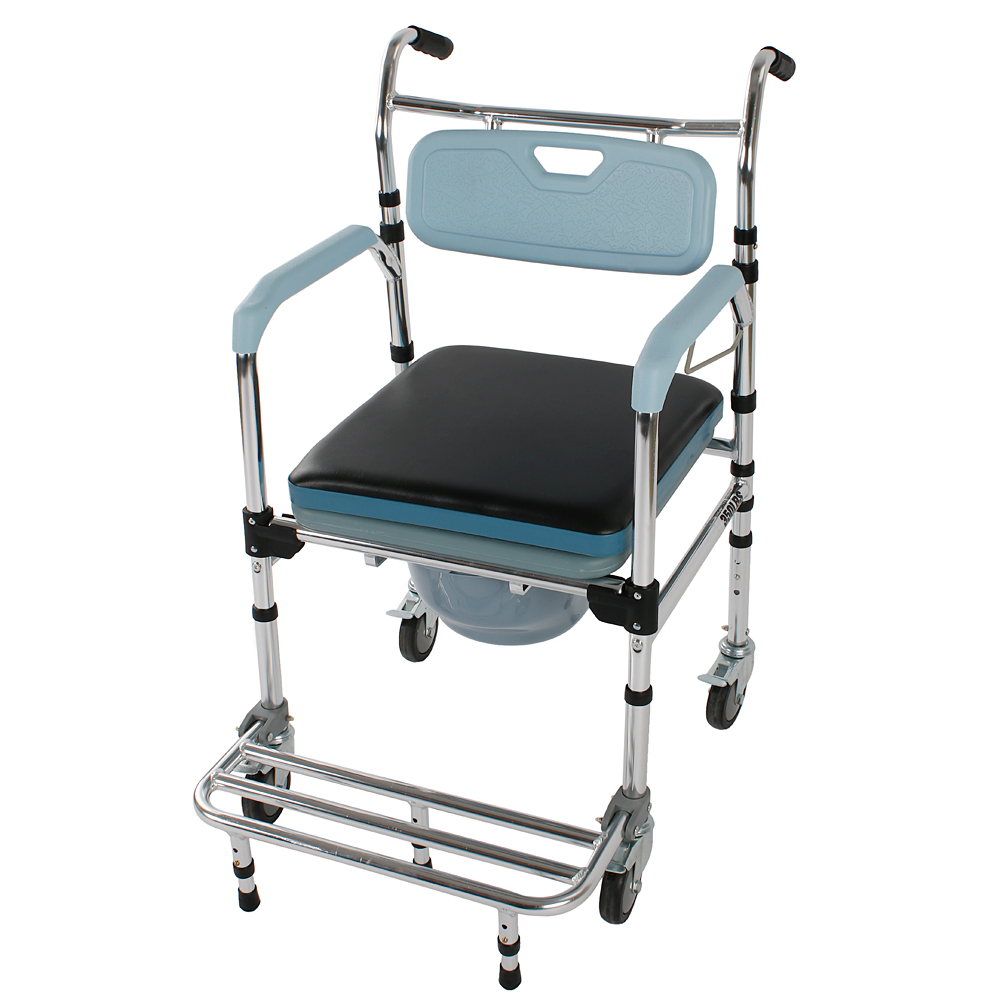 Aluminum Commode Wheelchair and Shower Wheelchair 4-in-1 Bathroom ...