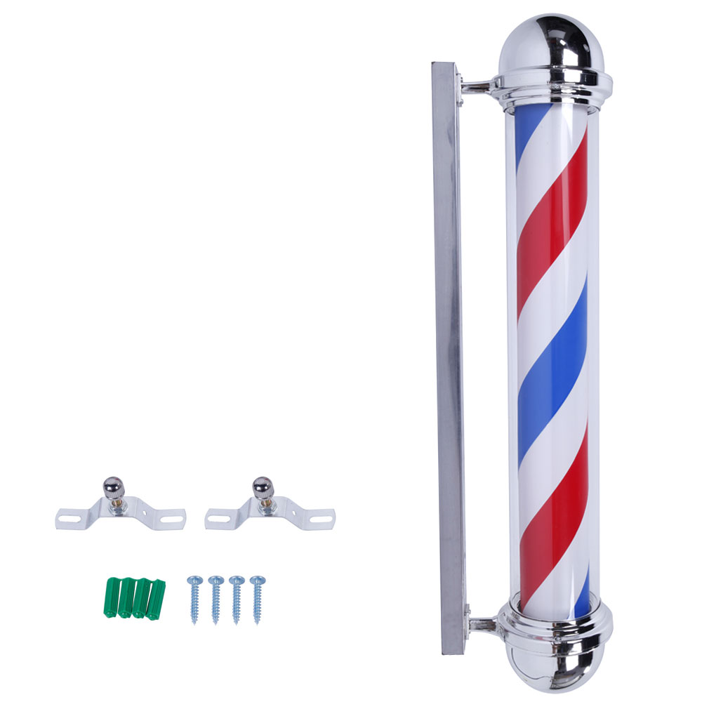 "36"" Wall-Mounted Barber Shop Sign Rotating Pole Light"