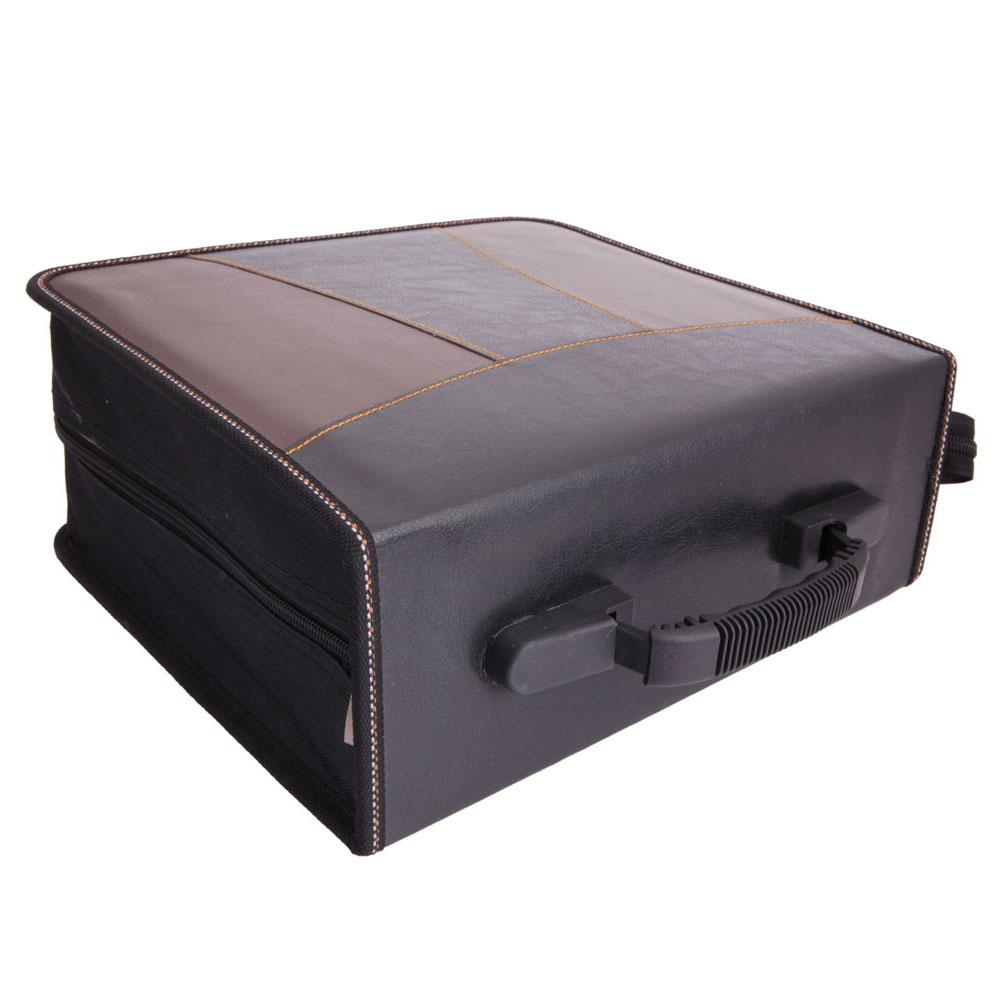 240 disc faux leather patchwork cd dvd storage bag holder case black brown ebay - Dvd case holder shelf ...