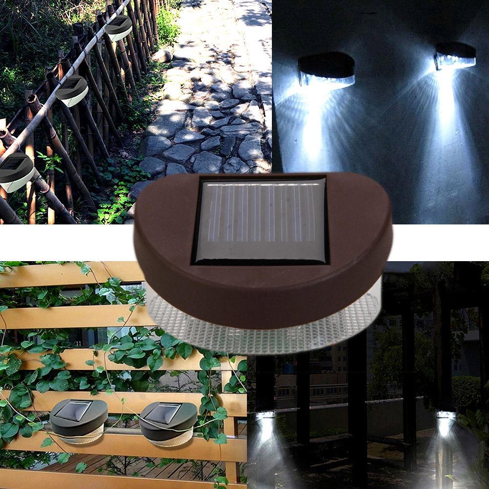 2-LED Solar Fence Light Powerful Outdoor Garden Yard LED