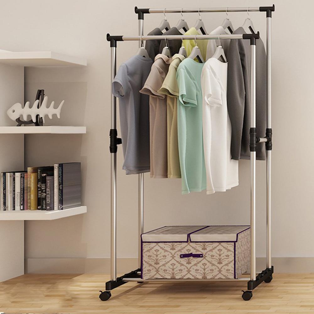 Portable Heavy Duty Double Rail Adjustable Garment Rack
