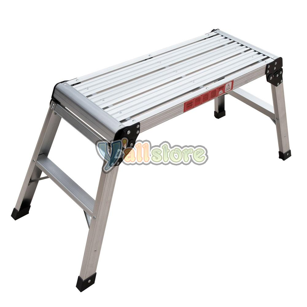 En131 330lbs Aluminum Platform Drywall Step Up Folding Work Bench Stool Ladder Ebay