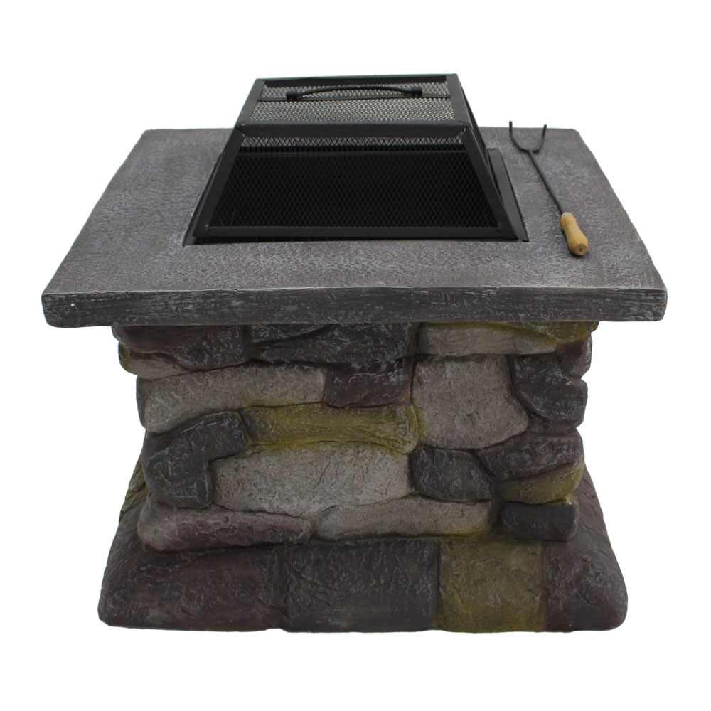 New Outdoor Patio Fire Pit with Fire Bowl Stone Base Spark ...