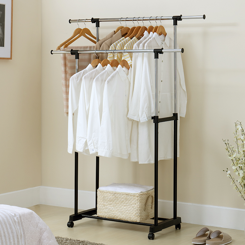 32 Quot Adjustable Rolling Clothes Rack Double Bar Hanging