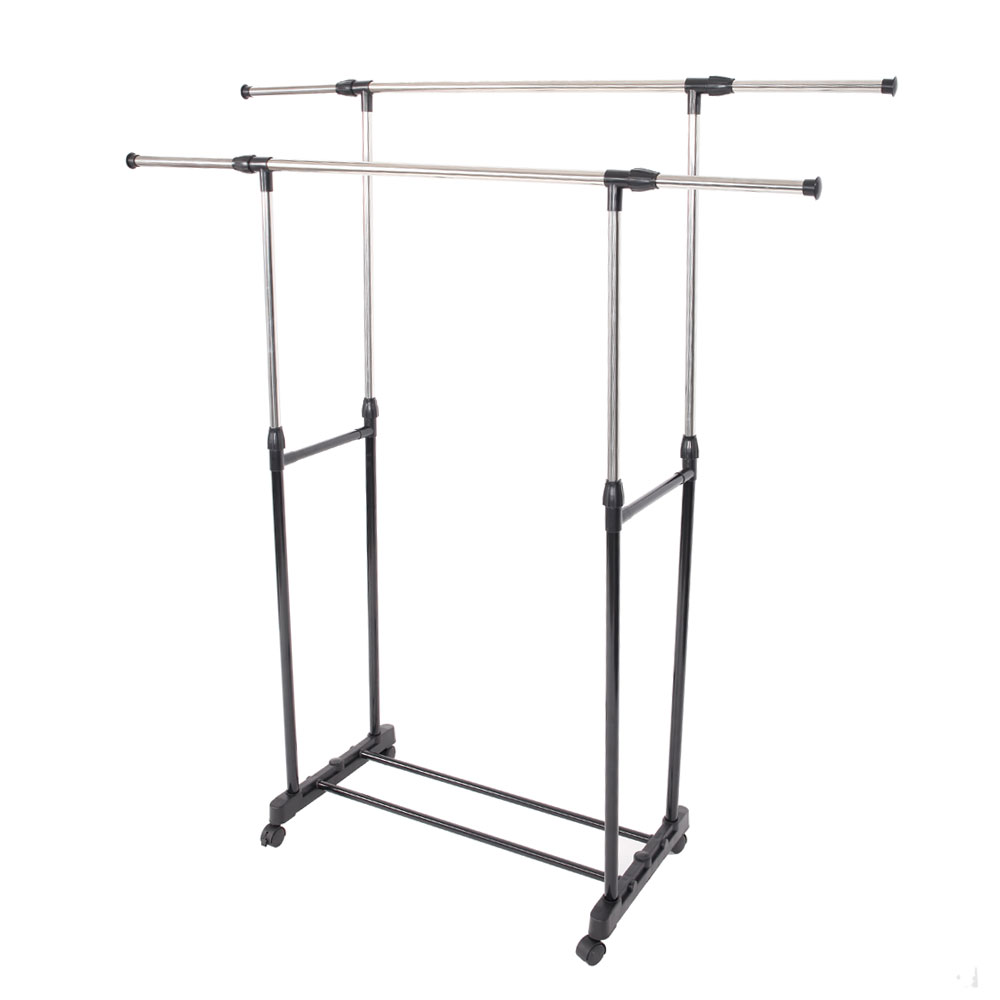 Adjustable Rolling Clothes Rack Double Bar Hanging Garment