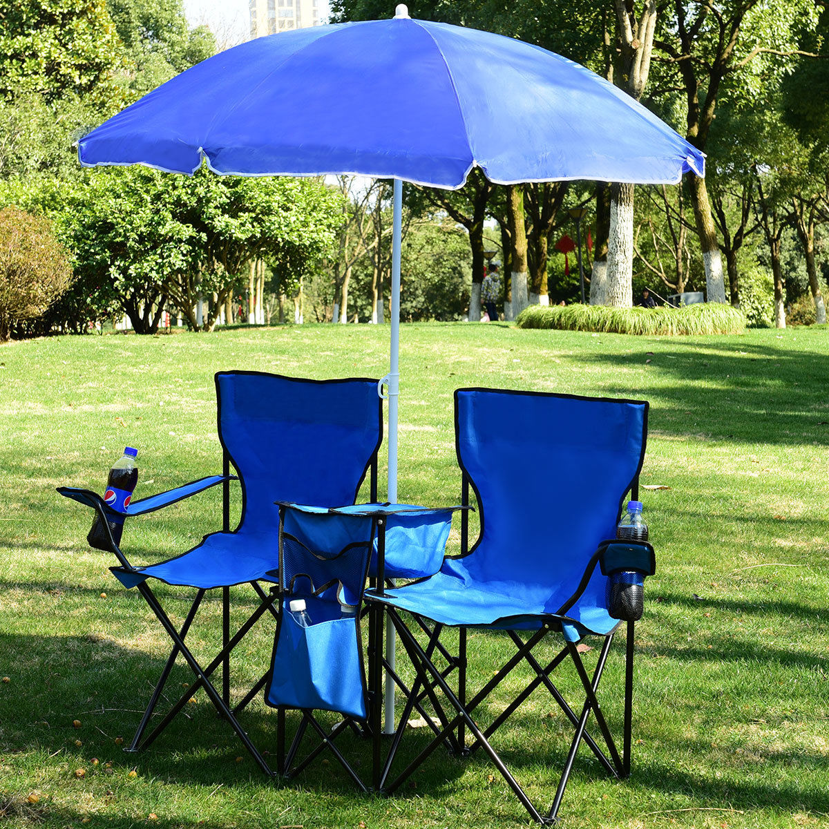 Prime Details About Foldable Picnic Beach Camping Double Chair Umbrella Table Cooler Fishing Fold Up Gmtry Best Dining Table And Chair Ideas Images Gmtryco