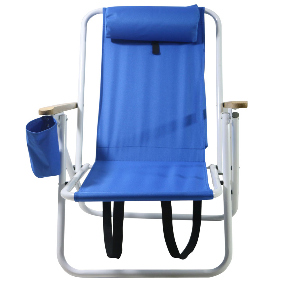 New beach chair chaise lounger w drink holder storage pouch camping blue ebay - Backpack chairs walmart ...