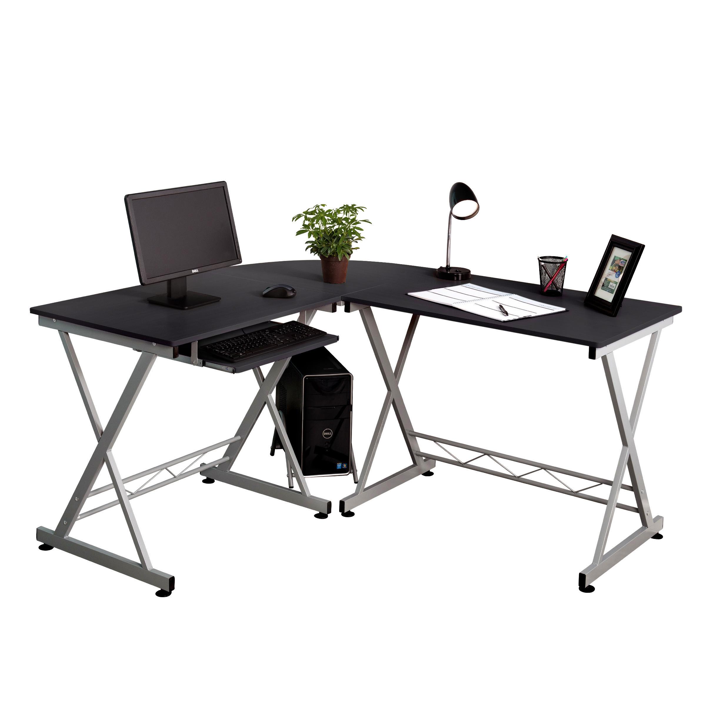l shaped corner computer desk pc wood laptop table workstation home office black 699936099631 ebay. Black Bedroom Furniture Sets. Home Design Ideas