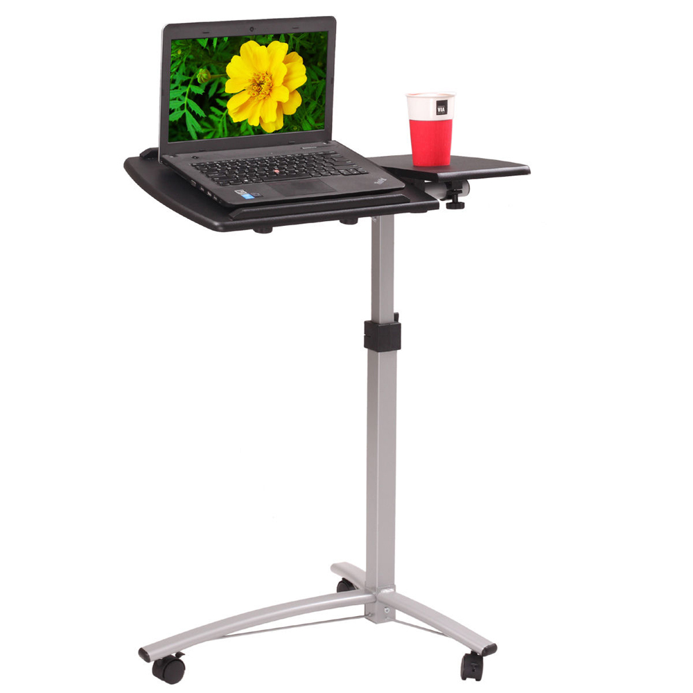 Adjustable Angle Height Rolling Laptop Desk Cart Bed Hospital PC Table Black