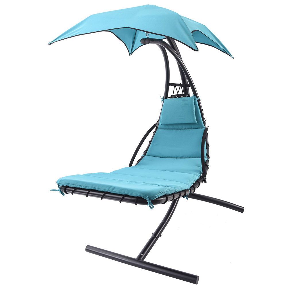 Lounger chair air porch swing hammock chair hanging chaise for Chaise lounge canopy