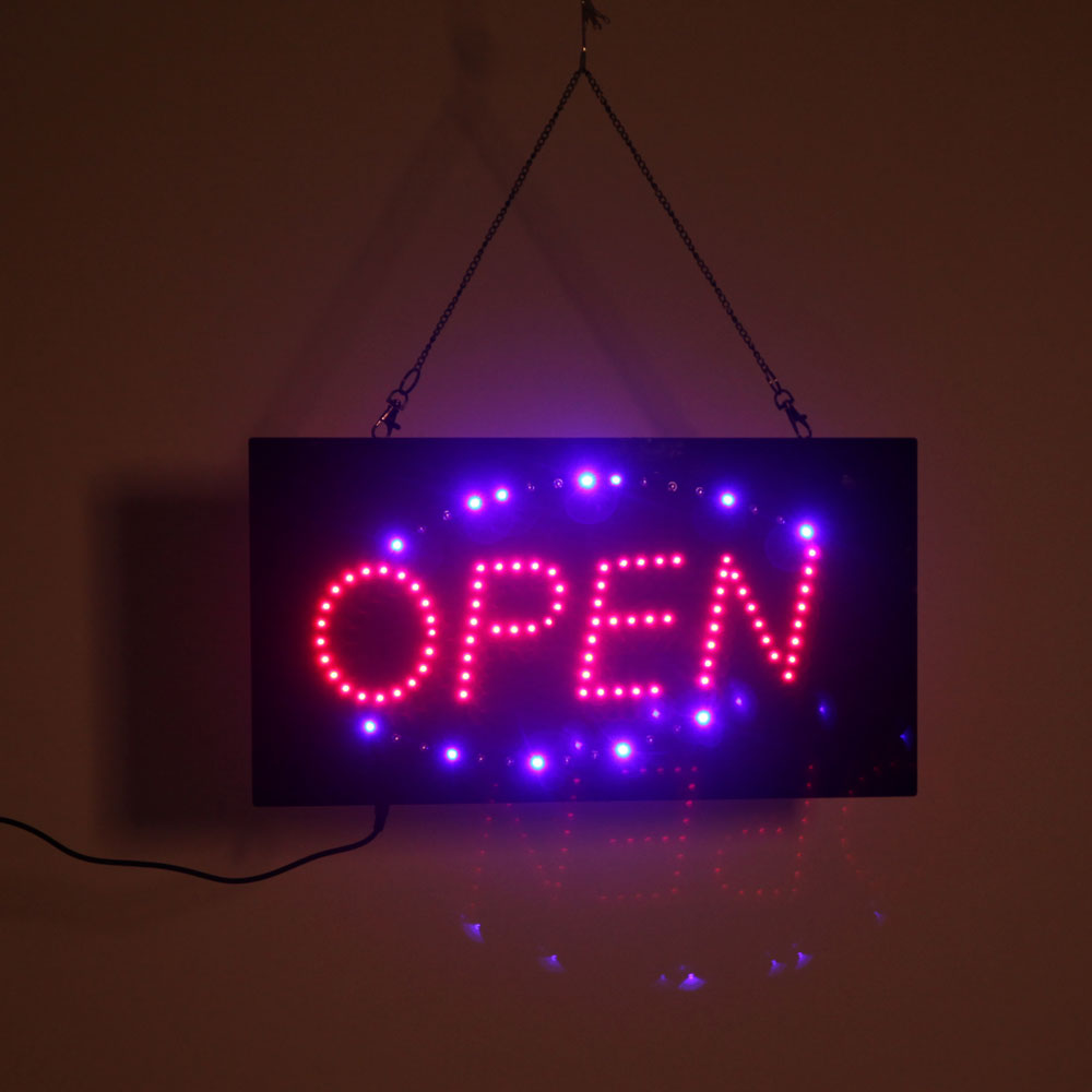 hanging led open sign color display scrolling animated