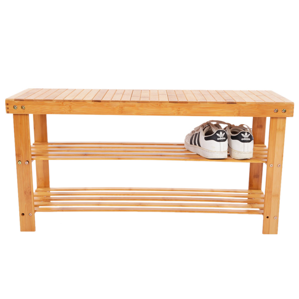 Shoe Rack Bench Bamboo Boot Organizer Seat Storage Entryway 100 Natural Bedroom Ebay