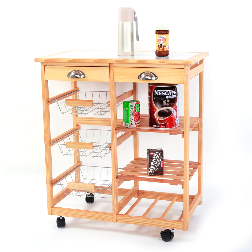 Rolling Wood Kitchen Trolley Cart Dining Storage Drawers