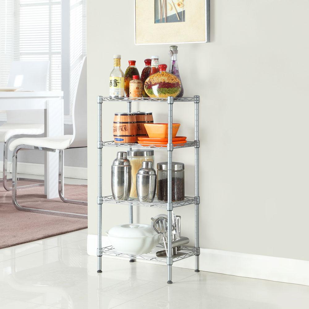 "32"" 4 Tier Shelves Wire Shelving Rack Shelf Adjustable"