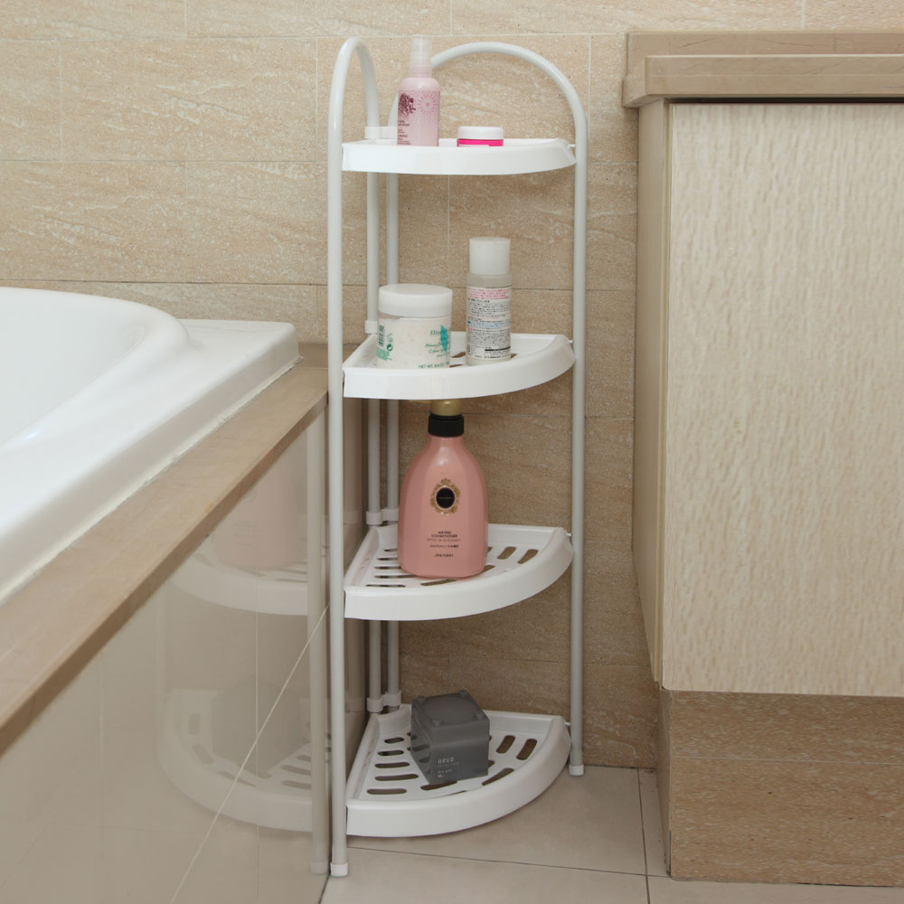 4-Tier Corner Rack Display Shelf Bathtub Wall Storage Bathroom Wire ...