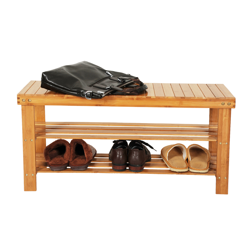 Loft Bench Seat Natural Sage: Shoe Rack Bench Bamboo Boot Organizer Seat Storage