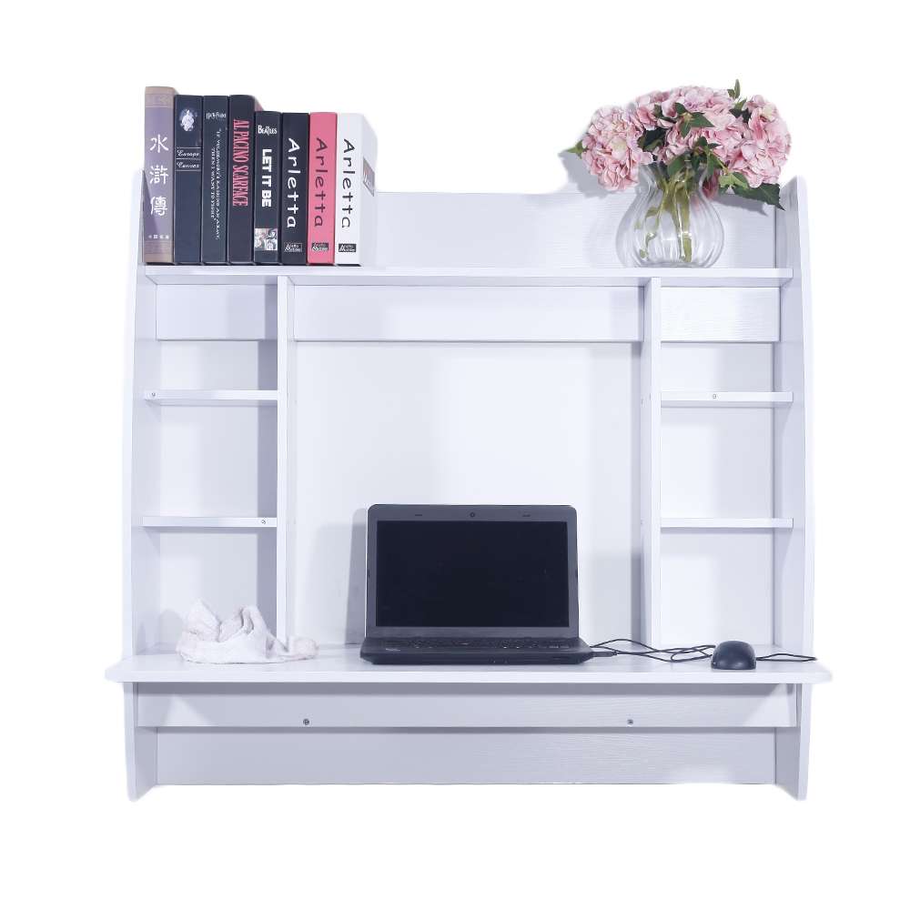 Wall Mount Floating Computer Desk Storage Shelves Laptop
