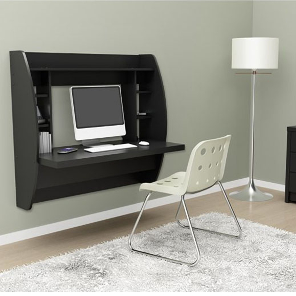 Computer Desk Floating Wall Mount Table With Storage Shelves Home ...