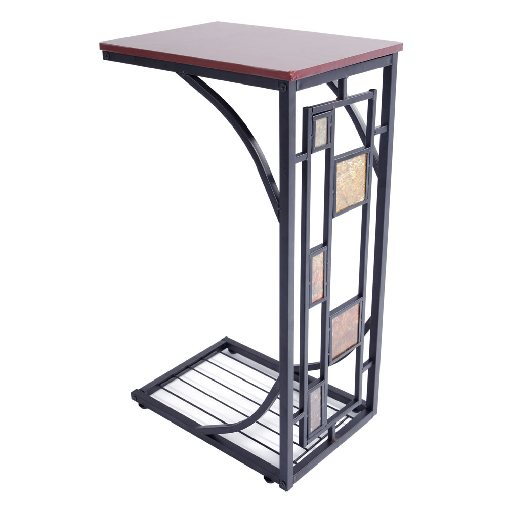 Details about Finish Chrome Frame Snack Sofa Bed Side Magazine End Table  With Scroll Desction
