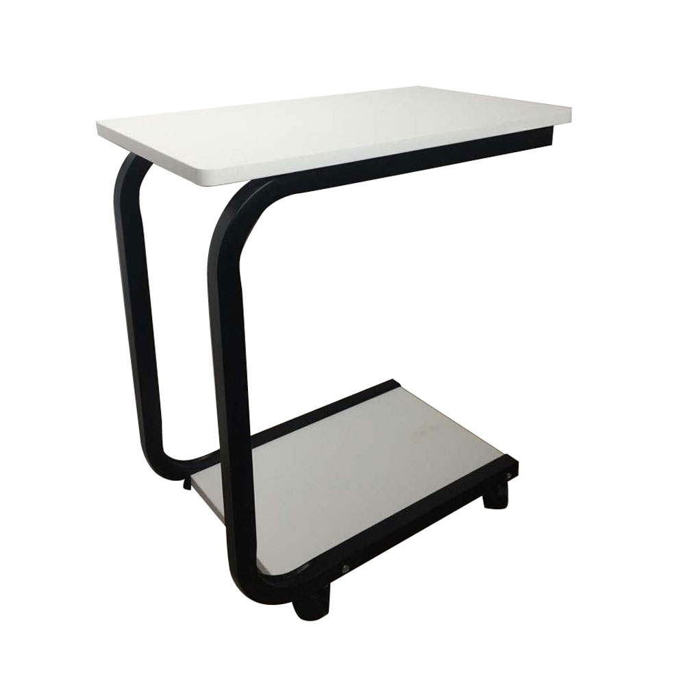 Coffee Sofa Side End Snack Tray Table Rolling Laptop Pc Desk Black