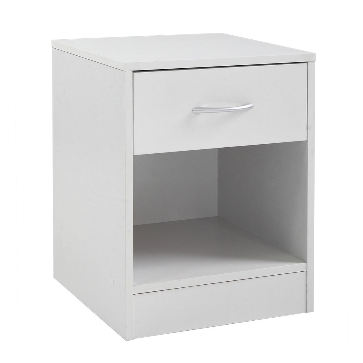 Set Of 2 White Bedside Nightstand End Table Bedroom Furniture 1 Drawer  Storage
