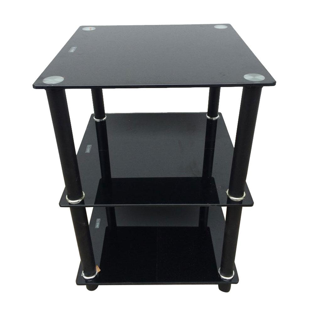 Buy Black Glass And Black Metal Square Side Table From: Black 3 Tier Square Glass Side Table Stand Living Room