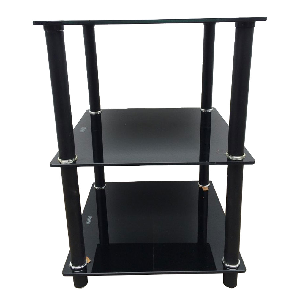 Black 3 Tier Square Glass Side Table Stand Living Room