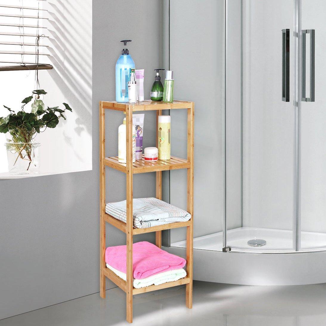 4 Tier Shelf Bamboo Corner Tower Rack Bathroom Storage Space Saving ...