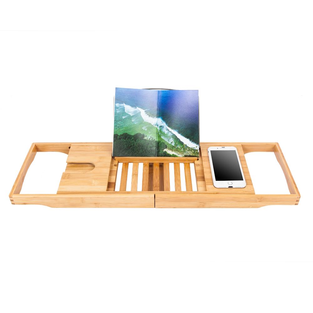 Bamboo Bathtub Caddy Shower Rack Bath Tub Tray Organizer Book/Pad ...