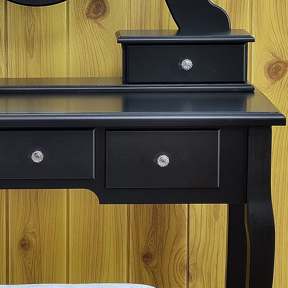 Black Vanity Makeup Dressing Table Set W Stool 5 Drawer Amp Mirror Jewelry Wood Desk 689754813090 Ebay