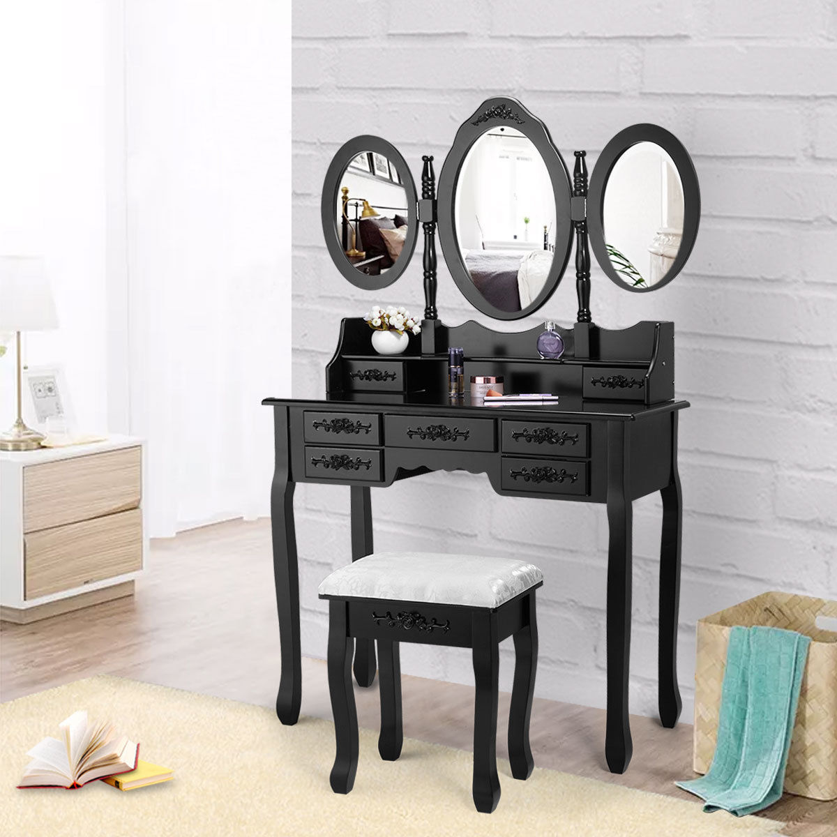 pretty nice 33673 00cef Details about Black Vanity Makeup Dressing Table Desk Set 7 Drawers With  Oval Mirror and Stool