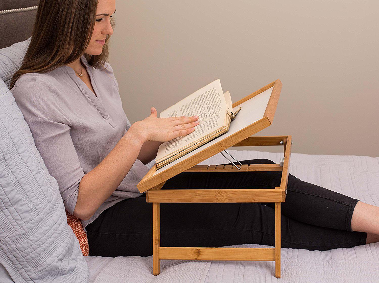 Wood Breakfast Bed Tray Lap Desk Serving Table Foldable