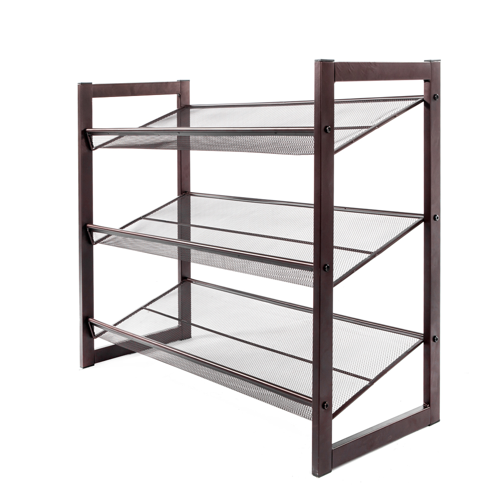 3 Tier Stackable Metal Shoe Rack Adjustable Organizer Shelf Closet Entryway