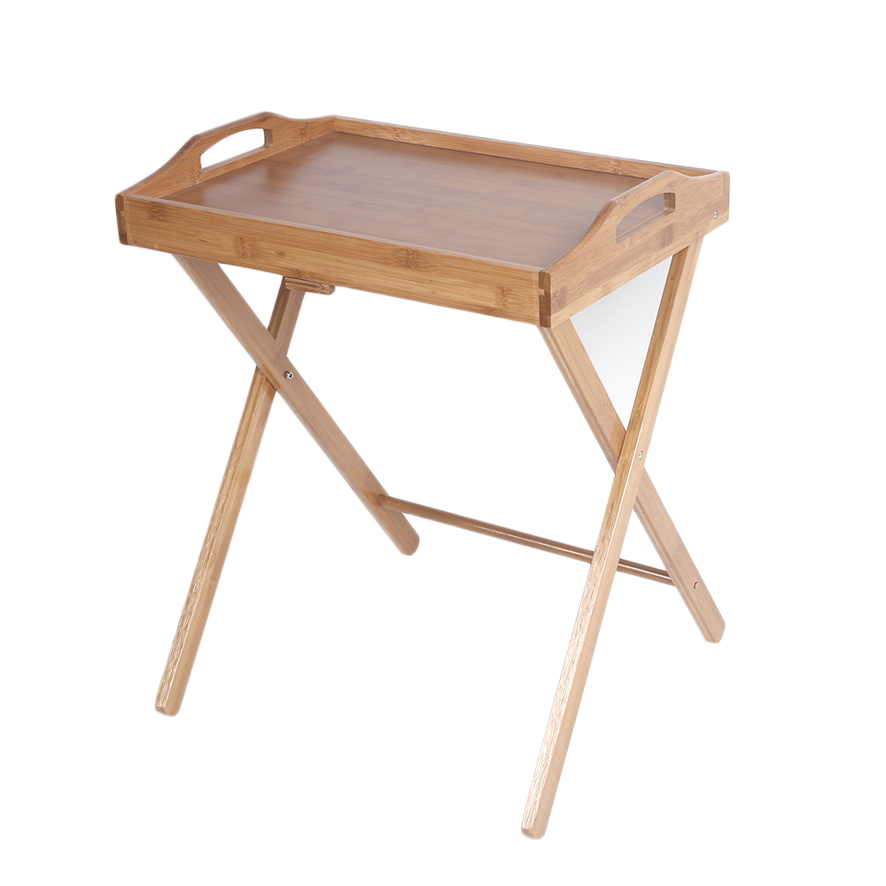 Bamboo folding wood tv tray dinner table coffee stand serving snack tea portable