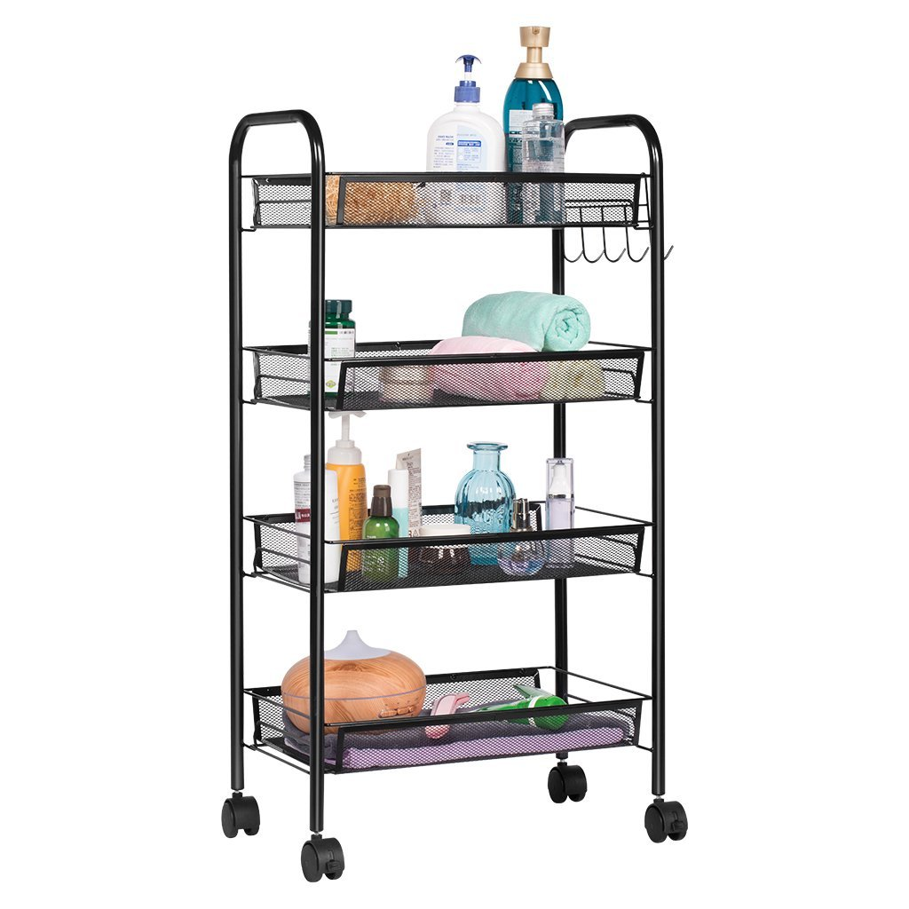 Mesh Storage Rolling Cart W/ 4 Tier Shelf Trolley Home Office Organizer  Black