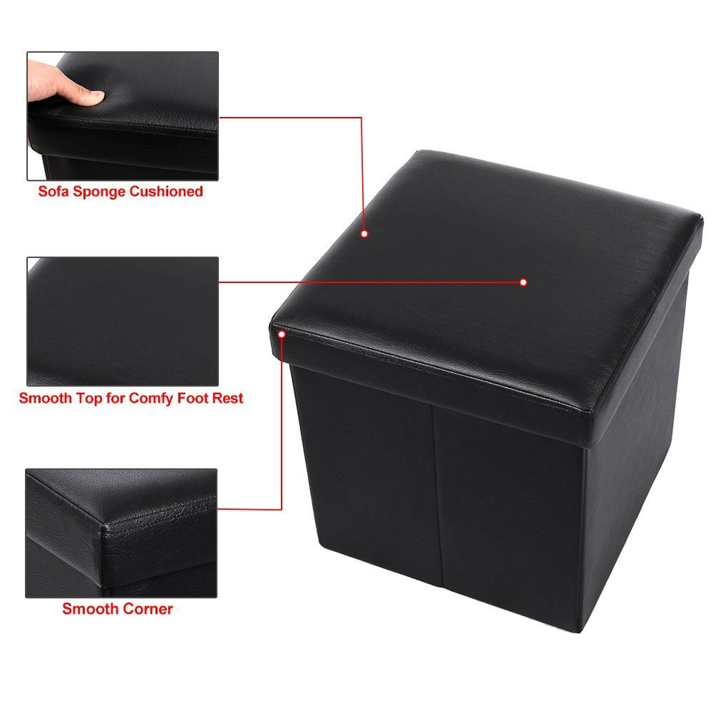 Beau Black Leather Ottoman Cube Footrest Storage Stool Box Seat Folding  Footstools
