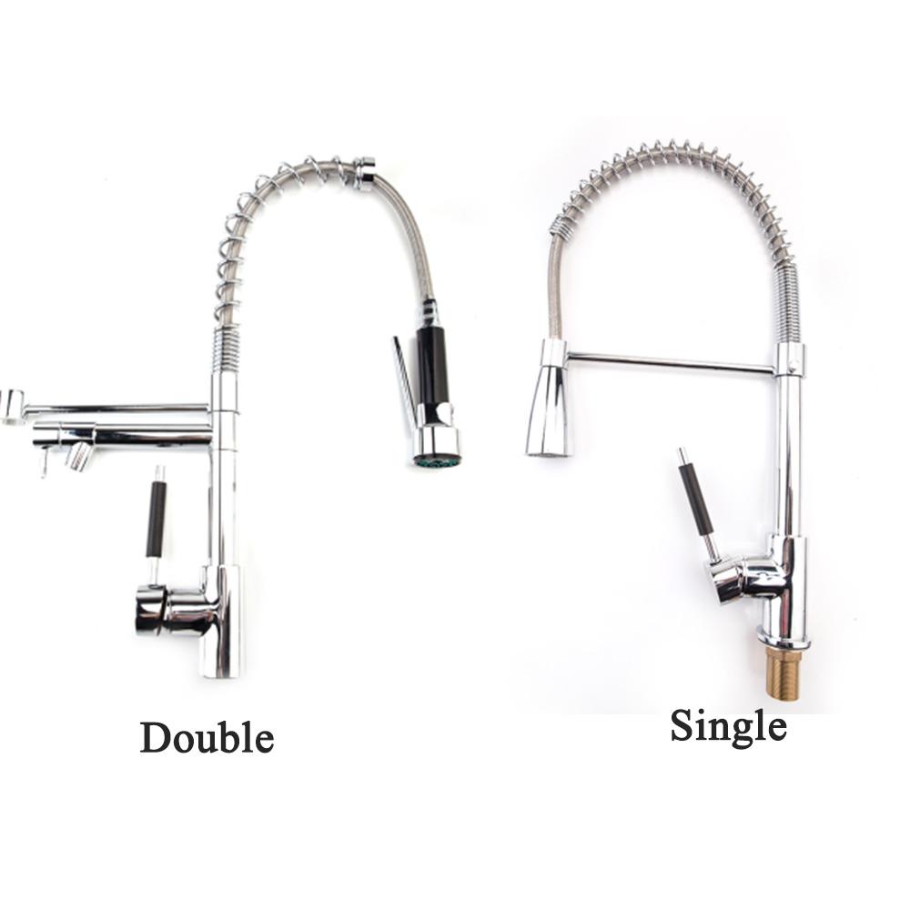 Details about Copper Kitchen Faucet Swivel Spout Pull Down Sink  Single/Double Hole Mixer Tap