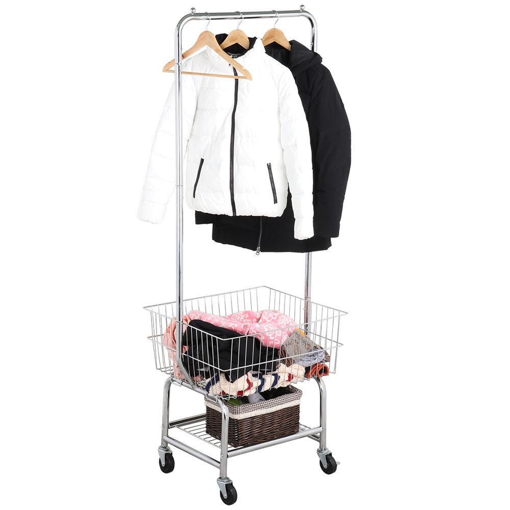 Rolling Laundry Cart Organizer W Storage Basket Double