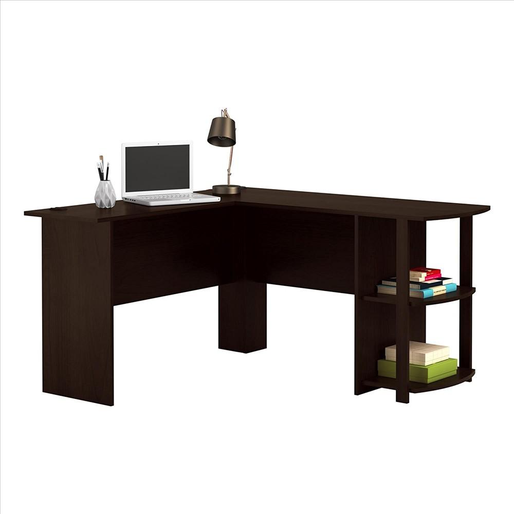 Merveilleux Details About Wood L Shaped Computer Desk Home Office Laptop PC Table 2  Bookshelves Dark Brown