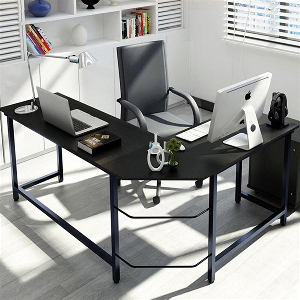 l shaped home office corner desk study laptop computer table black