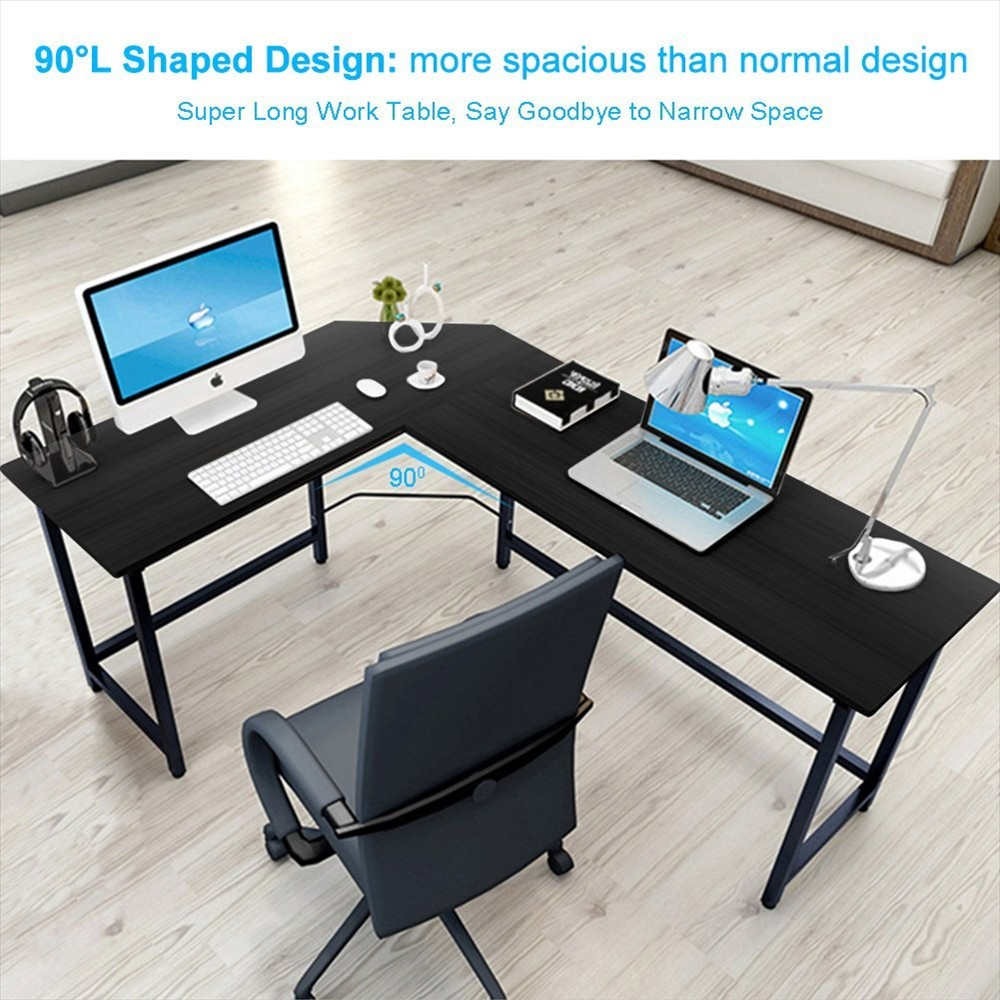 L Shaped Home Office Corner Desk Study Laptop Computer Table Black/Wood  Color