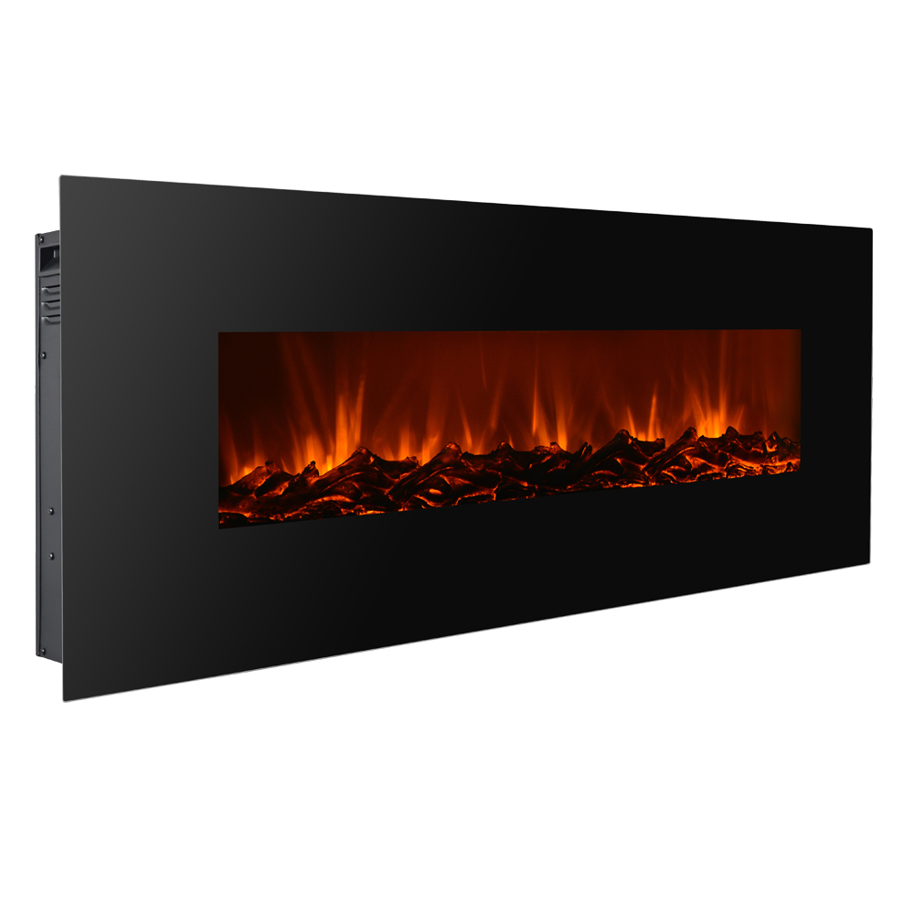 new 50 electric wall mounted fireplace heater w adjustable heating black ebay. Black Bedroom Furniture Sets. Home Design Ideas