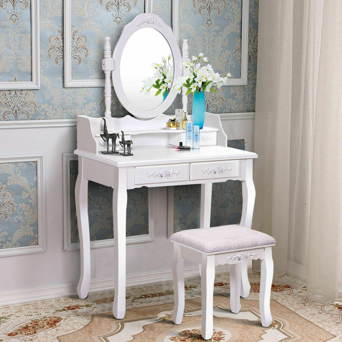 Wood White Vanity Makeup Dressing Table Set With Stool 4