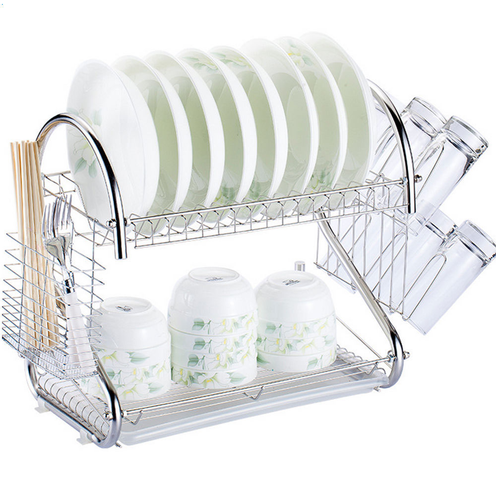 2 tier multi function stainless steel dish drying rack cup drainer strainer ebay. Black Bedroom Furniture Sets. Home Design Ideas