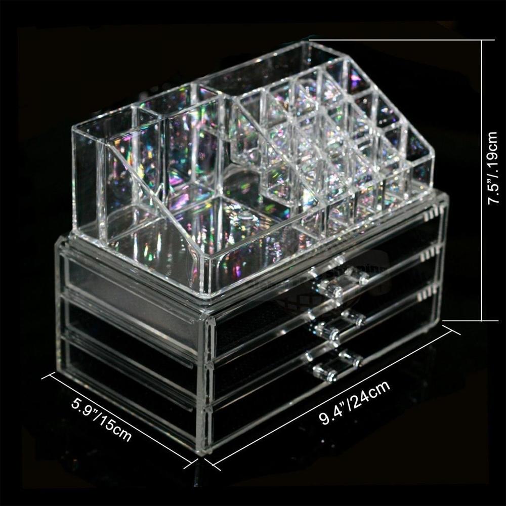 makeup cosmetic organizer case drawers holder storage box jewelry w 3 drawer ebay. Black Bedroom Furniture Sets. Home Design Ideas