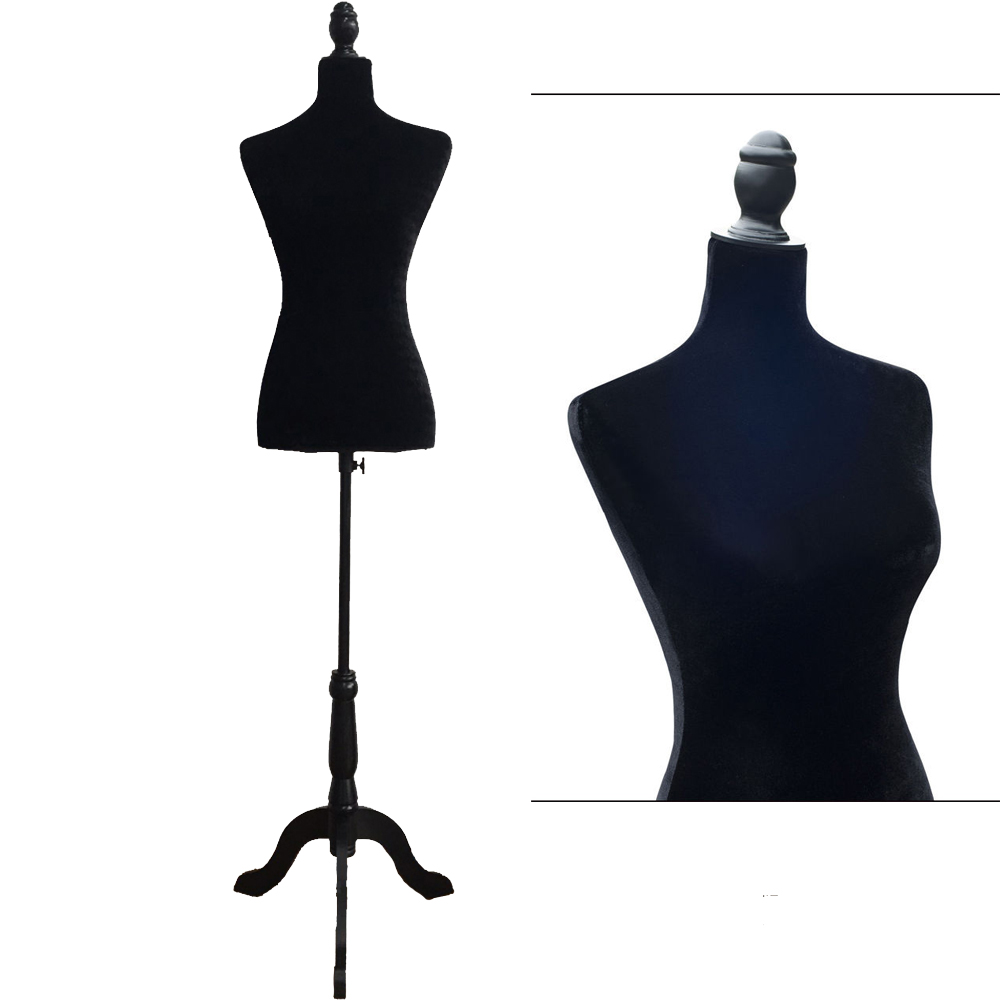 female mannequin torso display clothing dress form w black tripod stand black ebay. Black Bedroom Furniture Sets. Home Design Ideas