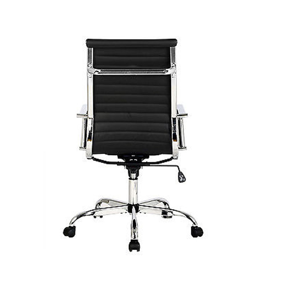 Hot Modern Design Ribbed High Back PU Leather Office Chair Conference Room Bl