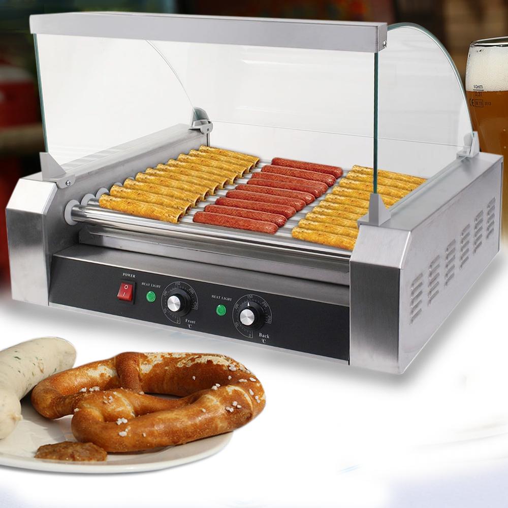 commercial hot dog 7 roller 11 roller grill cooker sausage machine w cover ebay. Black Bedroom Furniture Sets. Home Design Ideas