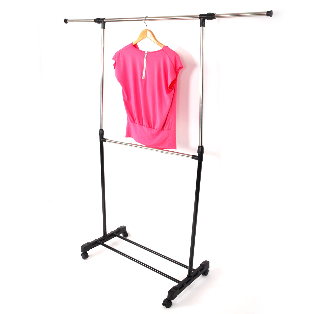 portable rolling clothes rack single hanging garment bar heavy duty hanger. Black Bedroom Furniture Sets. Home Design Ideas