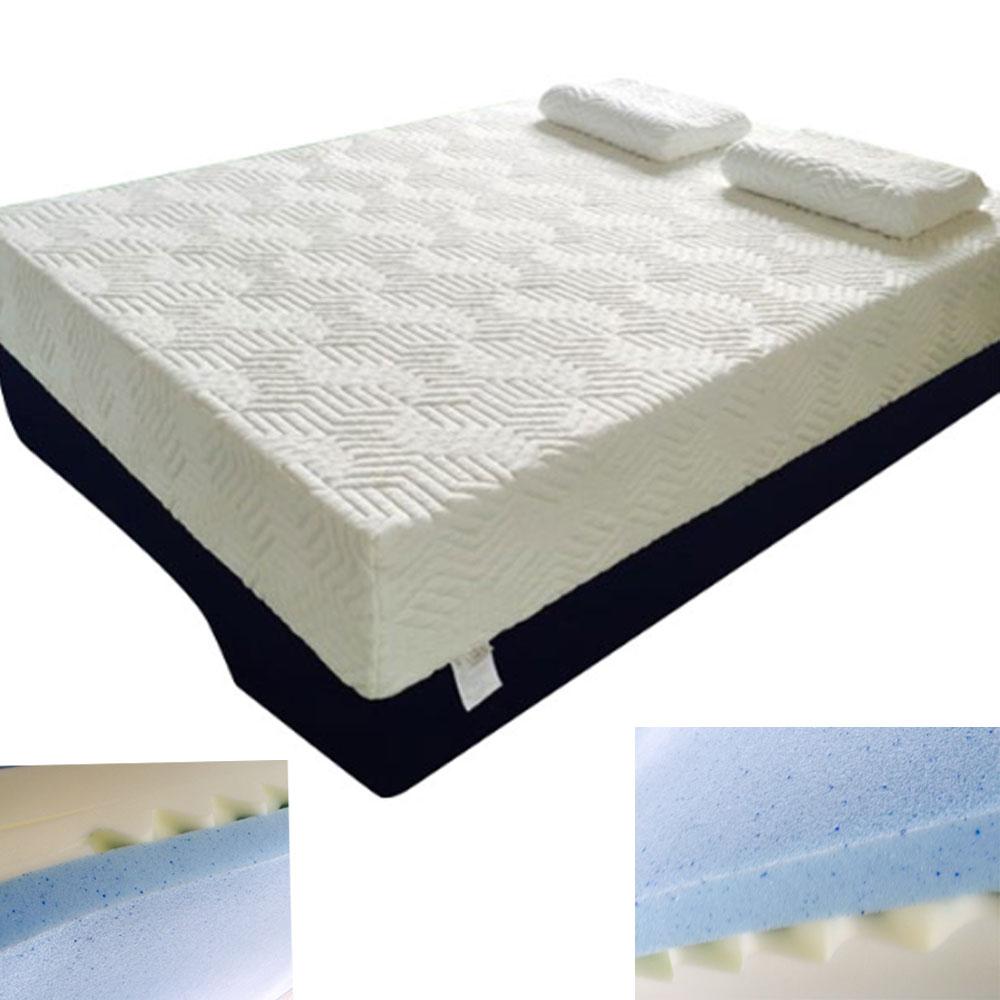 14 king size three layers cool medium soft firm memory foam mattress 2 pillows ebay. Black Bedroom Furniture Sets. Home Design Ideas